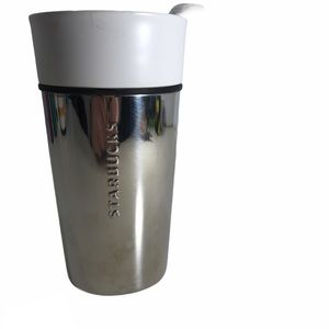 Starbucks Chrome Silver Ceramic Travel Mug Cup